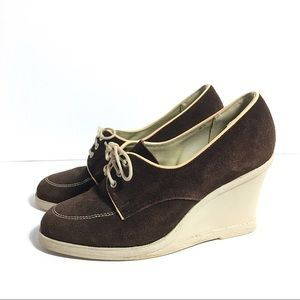 Vintage leather suede brown wedges shoes, size 7